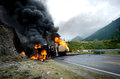 Burning tank car road accident Royalty Free Stock Photo