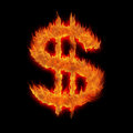 Burning united states usd dollar Stock Photo