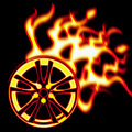 Burning wheel Stock Photography