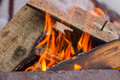 Burning wood in a brazier Royalty Free Stock Photo