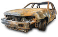 Burnout car isolation on a white background with clipping paths and shadow Stock Images