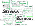 Burnout stress words cloud green black color Stock Image