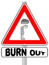Burnout warning sign vector illustration of a Stock Photo