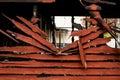 Burnt broken wood wall Royalty Free Stock Photo