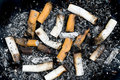 Burnt cigarette butts and ashes Stock Photos