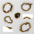 Burnt hole in paper or pergament, scorched papers vector set Royalty Free Stock Photo