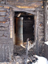 Burnt house interior Royalty Free Stock Photo