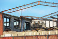 Burnt industrial building Royalty Free Stock Photo
