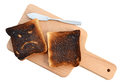 Burnt toast bread isolated white background with clipping path. Royalty Free Stock Photo