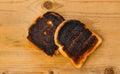 Burnt toast bread slices Royalty Free Stock Photo