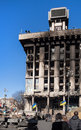 Burnt trade union house kiev ukraine feb unions as a result of riot police attack during euromaidan event Stock Photo