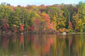 Burr pond state park torrington connecticut fall foliage at in during new england autumn Stock Photo