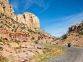 Burr trail road on a bike riding the through the waterpocket fold Royalty Free Stock Images