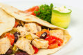 Burrito with beans and chicken fresh cucumber tomato Stock Photos