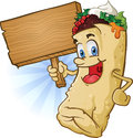 Burrito Character Holding Sign Stock Photo