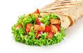Burrito with grilled chicken and vegetables isolated on white ba Royalty Free Stock Photo