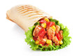 Burrito with grilled chicken and vegetables Royalty Free Stock Photo