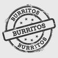 Burritos rubber stamp on white.