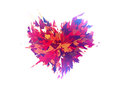 Burst of broken heart on white backgrounds background Royalty Free Stock Images