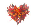 Burst of broken heart on white backgrounds background Stock Photo