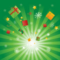 Burst of Christmas presents Stock Images