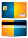 Burst credit card design in blue and orange colors Stock Photos