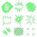 Bursts vector. Hand drawn sun bursts on white background. Neon green geometric shapes. Big collection set. Grunge art