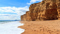 Burton bradstock beach dorset and cliffs at england uk Royalty Free Stock Images
