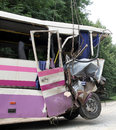 Bus crash kovel ukraine july scene of where nine ukrainian belarusian and bulgarian tourists were died and as many as others were Stock Image