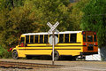 Bus at crossing a school stopped a uncontrolled railroad in roseburg oregon Royalty Free Stock Photo