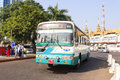 A bus in downtown yangon myanmar the middle of roundabout city hall is located the heart of Royalty Free Stock Photo