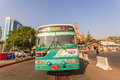 A bus in downtown yangon myanmar the middle of roundabout city hall is located the heart of Royalty Free Stock Images