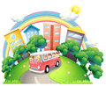 A bus full of kids illustration on white background Royalty Free Stock Image