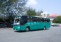Bus of green bus company between chiangmai and thungchang nan thailand august photo at lamphun station thailand Royalty Free Stock Images