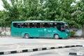 Bus of green bus company between chiangmai and thungchang nan thailand august photo at lamphun station thailand Stock Image