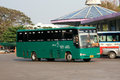 Bus of green bus company between chiangmai and thungchang nan thailand august photo at lamphun station thailand Royalty Free Stock Photo