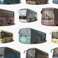 Bus icons set pattern