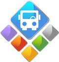 Bus Square Icon Stock Images