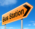 Bus station sign illustration depicting a with directions to the Royalty Free Stock Image
