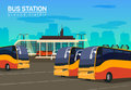 Bus station, vector flat background illustration Royalty Free Stock Photo