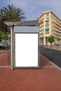 Bus stop advertisement blank city Stock Image