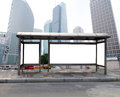 Bus stop billboard on stage Royalty Free Stock Image
