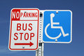 Bus Stop & Handicap signs Royalty Free Stock Photo