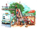 Bus stop public transportation illustration cartoon drawing Stock Images