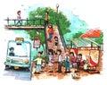 Bus stop, public transportation illustration