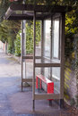Bus stop shelter an empty Royalty Free Stock Image