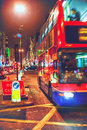 Bus in the street of london evening Royalty Free Stock Image