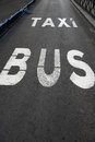 Bus and Taxi Lane Royalty Free Stock Images