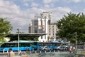 At the bus terminus in nicosia background hotel holiday inn Royalty Free Stock Photo