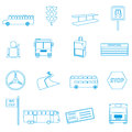 Bus transport simple outline icons set eps Royalty Free Stock Photos